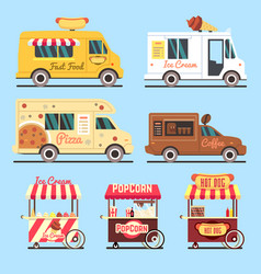 street fast food delivery trucks flat set vector image