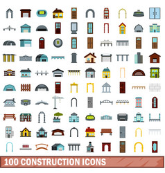 100 construction icons set flat style vector