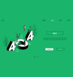 404 error isometric landing page colorful web vector image