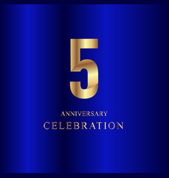 5 year anniversary celebration gold blue template vector