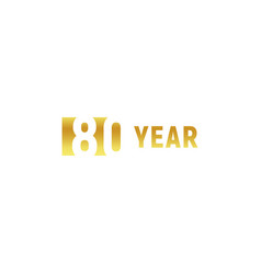 80 year happy birthday gold logo on white vector image