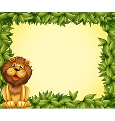 A lion and leafy frame template vector