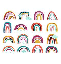 Abstract drawing rainbows cartoon weather pastel vector