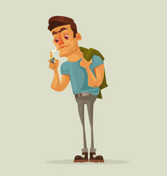 adult man character getting lights cigarette vector image