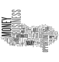 Automated money is key to success text vector