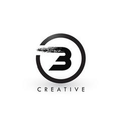 B brush letter logo design creative brushed vector
