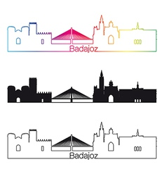 badajoz skyline linear style with rainbow vector image