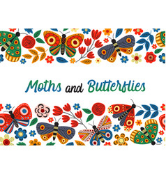 basic rgbhorizontal banner with butterflies vector image