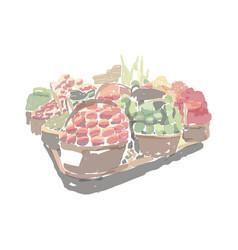 Basket fruits and vegetables pallet vector