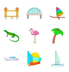 beach of america icons set cartoon style vector image