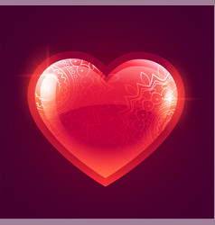 beautiful shiny red glowing heart background vector image