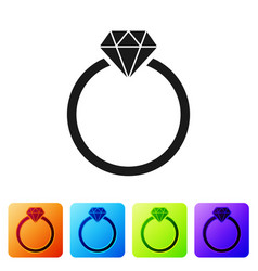 Black diamond engagement ring icon isolated on vector