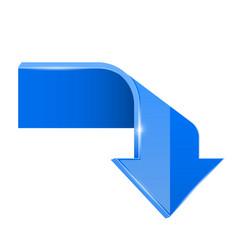 Blue bent arrow down 3d symbol vector