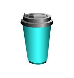 Blue glass with hot coffee or tea to decorate vector
