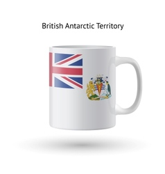 British Antarctic Territory flag souvenir mug on vector