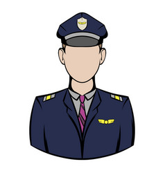 Captain of the aircraft icon cartoon vector