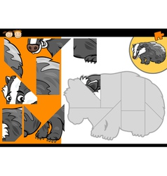 Cartoon badger jigsaw puzzle game vector