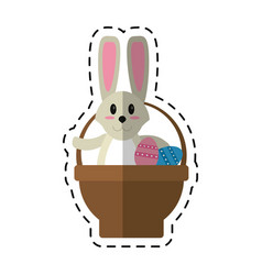 Cartoon easter rabbit inside egg basket vector