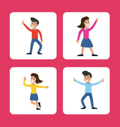 Cartoon man and woman dancing happy vector