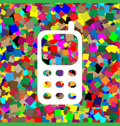 cell phone sign white icon on colorful vector image