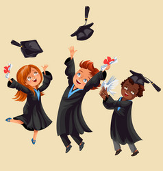 College students poster with happy graduates vector