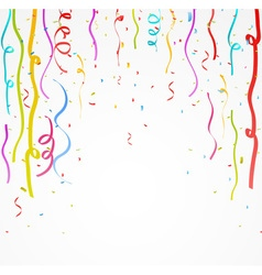 Colorful celebration ribbon with confetti vector image