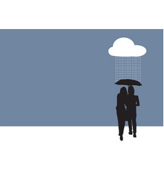 couple sharing an umbrella vector image