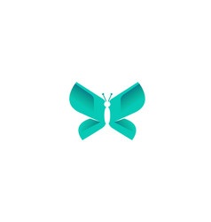 creative abstract blue butterfly logo vector image