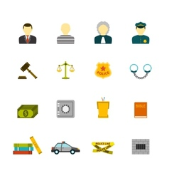 Crime and Punishments Icons Set vector image