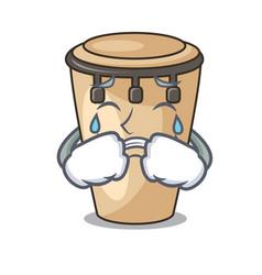 Crying conga mascot cartoon style vector