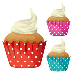 cupcake with cream in different color cups vector image