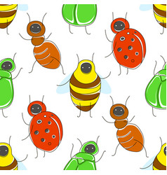 cute cartoon seamless pattern with funny bugs vector image