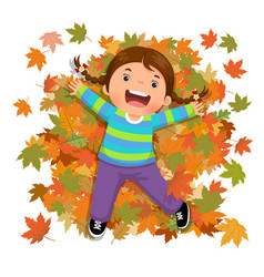 Cute girl playing with falling leaves vector