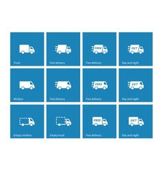 Delivery Trucks icons on blue background vector image