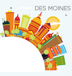 Des moines skyline with color buildings blue sky vector