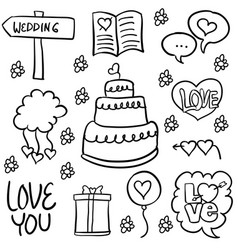 Doodle of wedding object hand draw vector