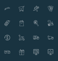 Ecommerce icons line style set with shopping vector