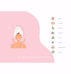 Eight foods for healthy glowing skin ight foods vector