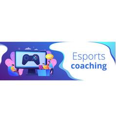 Esports coaching concept banner header vector