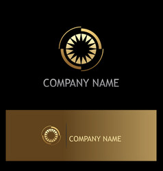 Eye optic shine gold company logo vector
