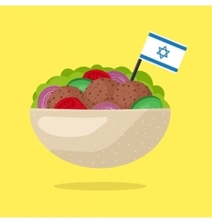 Falafel with Israeli Flag Vegetarian Fast Food vector