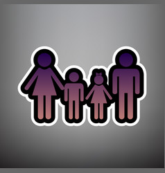 family sign violet gradient icon with vector image
