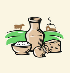 Farmers milk products vector