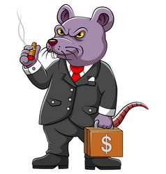 Fat rat corrupter with business suite vector