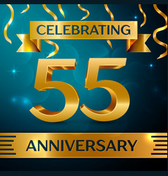 fifty five years anniversary celebration design vector image