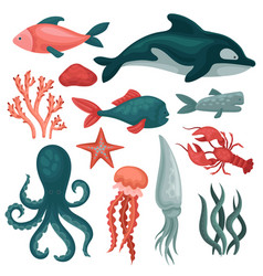 flat set of sea animals and objects fishes vector image