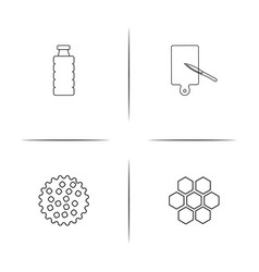 food and drink simple linear icon setsimple vector image