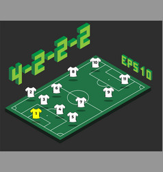 Football 4-2-2-2 formation with isometric field vector