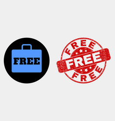free case icon and distress free stamp vector image