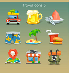 Funny travel icons-set 3 vector